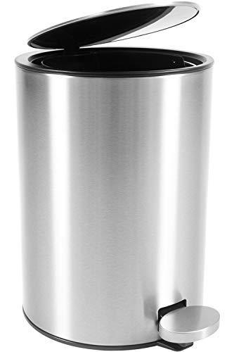 Bamodi Kosmetikeimer – 3l-Edelstahl-Treteimer mit Absenkautomatik – Silber (gebürstet)