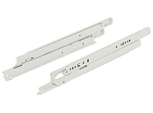 Gedotec Schubladen-Schiene Vollauszug 800 mm Rollenführung für aufliegende Montage | Schwerlast-Schienen mit Tragkraft 50 kg | RAL 9001 weiß | MADE IN AUSTRIA | 1 Paar - Auszüge für Holz-Schubkästen