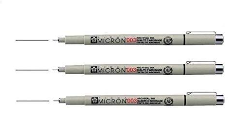 Sakura Pigma Micron - Pigmento fineliners - 0.03 mm), color negro 3 unidades,Pigma Micron XSDK-3 - Rotulador de punta fina negro