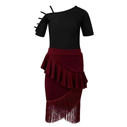 IEFIEL Conjuntos de Vestido Danza Latina Niñas Maillot Manga Corta+Falda Flecos para Baile Latino Traje de Danza Salsa Rumba Cha Cha Tango Negro&Vino 5-6 años