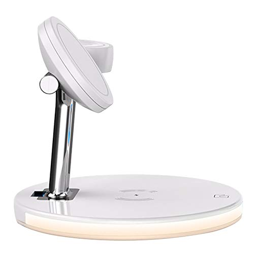 H HILABEE Cargador inalámbrico magnético de sobremesa con Base de Carga certificada Qi para iPhone 12 Pro/12 Pro MAX/Pro - Blanco