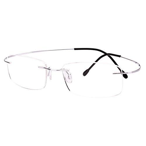 Agstum Titanium Rimless Flexible Frame Hingeless Optical Eyeglasses Clear Lens (Silver, Non-Prescription Clear Lens / 52)