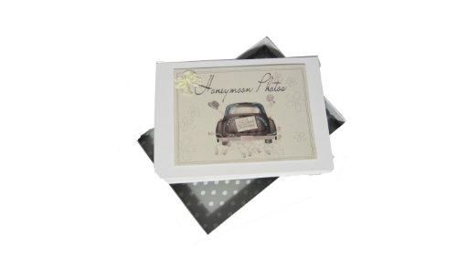 white cotton cards - Álbum de luna de miel (tamaño pequeño), diseño con texto'Honeymoon Photos' y coche nupcial