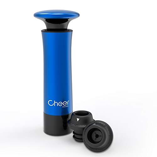 Cheer Moda Wine Saver Vakuumpumpen-Kit mit 2 Flaschenverschlüssen (Blau)