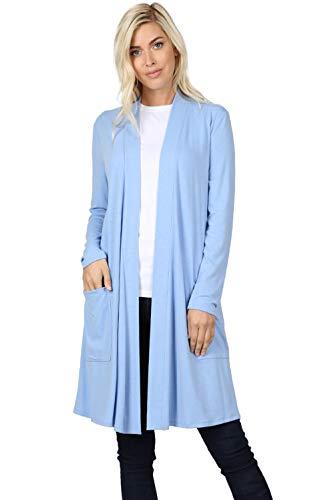 Cárdigans largos para mujer, parte delantera abierta, suelta, con bolsillo sólido ligero, Azul (Spring Blue), 3x