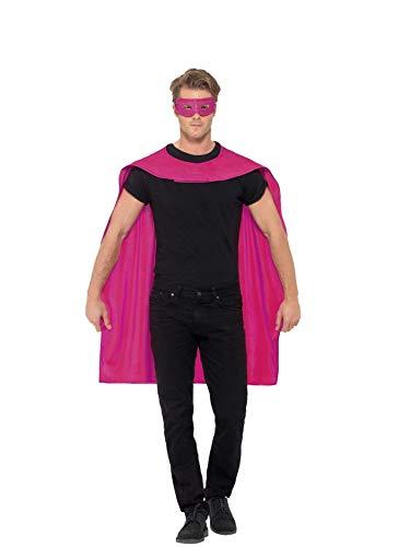 Smiffys Unisex Umhang und Augenmaske, One Size, Pink, 44950