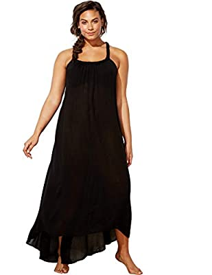 SWIMSUITSFORALL Swimsuits for All Women's Plus Size Braided Dress Swimsuit Cover Up 14/16 Black from swimsuitsforall