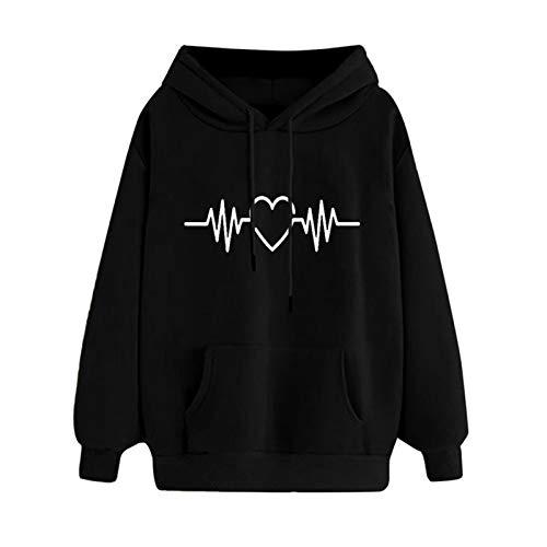 WMNU Womens Tops and Blouses Long Sleeve Hoodie Sweatshirt Jumper Hooded Pullover Tops Female Blouse Streetshirt Black