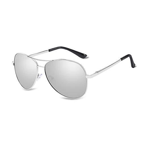LumiSyne Hombre Gafas de sol polarizadas,gafas de conducción de piloto clásicas,lentes de color,montura metálica,protección UV 400 Viajes Al aire libre