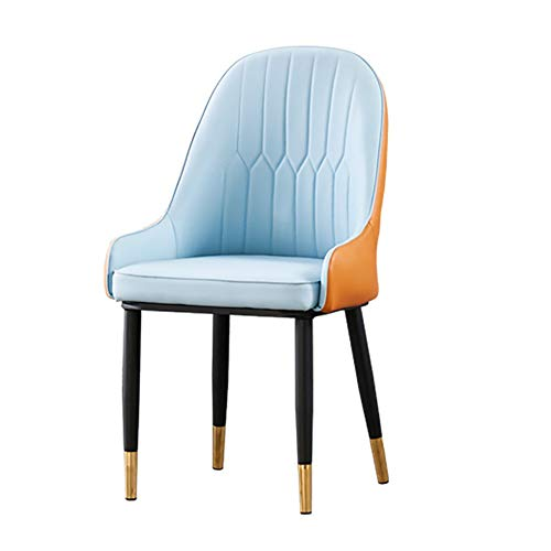 HUAYIN Modern Leather Dining Chair, Leisure Living Room Corner Chairs | High-Back Club Lounge Chair with Leather and Backrests for Home Accent Chair,Blue