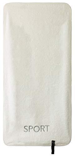 Brandsseller - Toalla deportiva con logotipo de deporte bordado, 100% algodón, 40 x 80 cm, color crudo