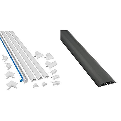 D-Line 3015KIT001 Multipack de Canaleta para Cableado, Blanco, 30x15mm, Set de 4 Piezas + CC-1   Canaleta pasacables Cavidad x 60 mm y 1,8 m en Color Negro
