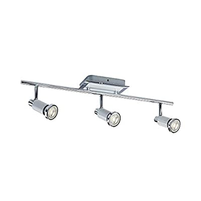 NOMA LED Track Lighting   Adjustable Ceiling Light Fixture   Perfect for Kitchen, Hallway, Living Room & Bedroom   White and Chrome, 6-Light