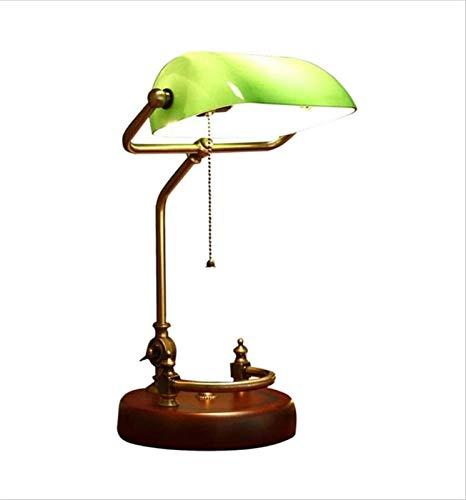 Lámpara de banco, estilo americano, lámpara de cristal, sombra de latón antiguo (color: verde)