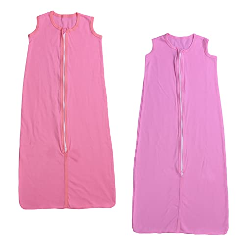 2 Pack 100% Cotton Soft&Light Sleeveless Sleep Bag Wearable Blanket for Baby Boys and Girls (M(6-12month), Pink-lightpink)