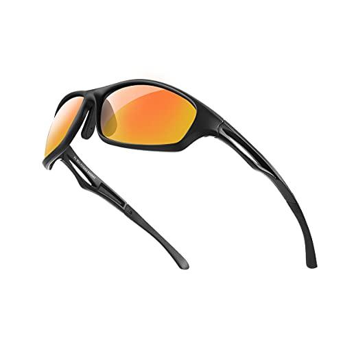 Bloomoak Beste polarisierte Sonnenbrillen Radsport-Brillen Herren & Damen / cooler Schwarz / UV-Schutz / unzerbrechlicher TR90-Rahmen - geeignet für Fahren / Laufen / Radfahren / Angeln (Orange)