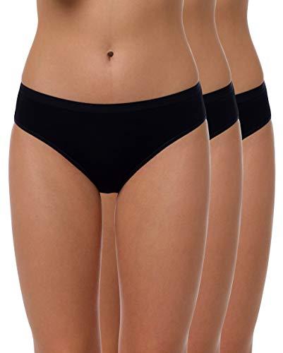 Yenita 3er Set Bambus Damen Unterwäsche, Bikini-Slip, Schwarz, Gr.L