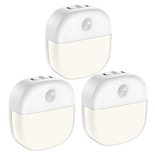 AMIR (Upgraded Version) Motion Sensor Light, 3 Modes Battery-Powered LED Night Light, Wall Light, Closet Lights, Safe Lights for Stairs, Hallway, Bathroom, Kitchen, Cabinet (White - Pack of 3)