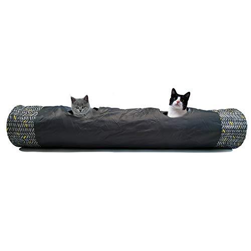 LeerKing Katzentunnel Spielzeug Lange Rascheltunnel Faltbar Rohr Dünn Atmungsaktiv Spieltunnel Interaktives Spielzeug mit Kugel Trainingsspielzeug Tunnel für Katze Kätzchen Kaninchen 2 Wege, 130CM