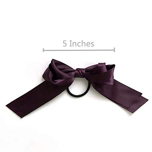 JaneOft 6 Pieces Bow Hair Ties, Big Hair Ribbon Rubber Bands 3