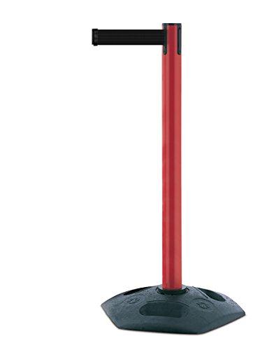 tensabarrier 886m-21-b9Heavy Duty Post mit einer schwarz Gummi und Schwarz Gurtband mit einem Anti Tamper Klebeband Ende, 2,3m, rot
