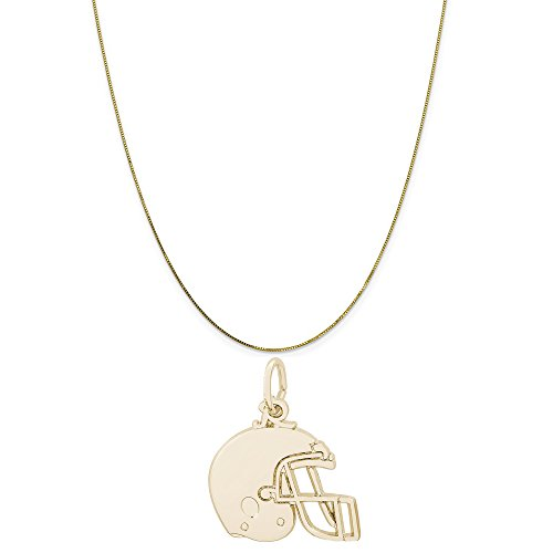 Rembrandt Charms 14K Yellow Gold Flat Football Helmet Charm on a Box Chain Necklace, 16
