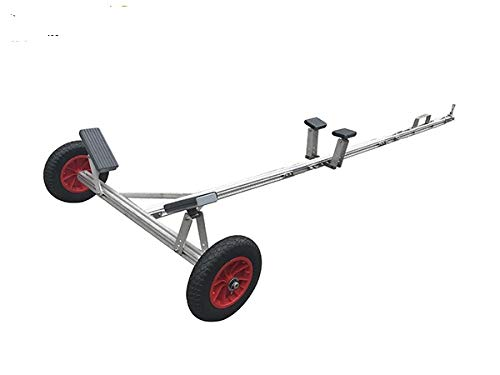 Multisport Portable Carry and Launch Small Boat Trailer, Adjustable Length 4', 7.5', 11', Hitch Sizes 1 7/8', 2', 16' Beach Wheels, Kayak, Canoe, SUP, Paddleboard (Without T Bar Dolly Handle)