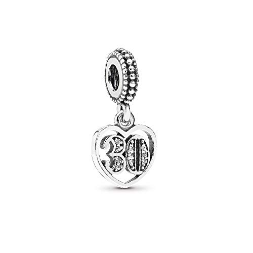 FGT 30th Celebration Dangle Charm for Bracelets Anniversary Heart Charms Sterling Silver Letter Number 30 Birthday Charm for Wife Best Friend