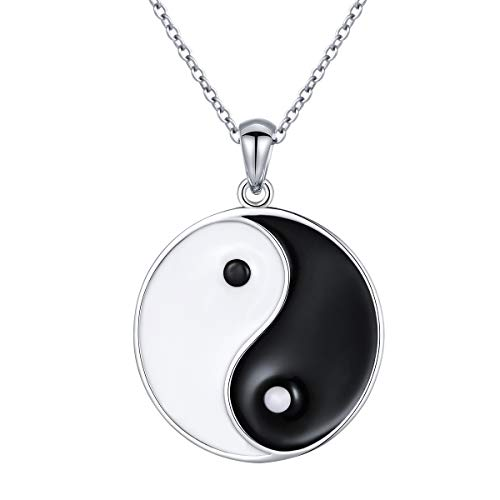 S925 Sterling Silver Yin Yang Tai Chi Pendant Necklaces for Men Women Valentines Day