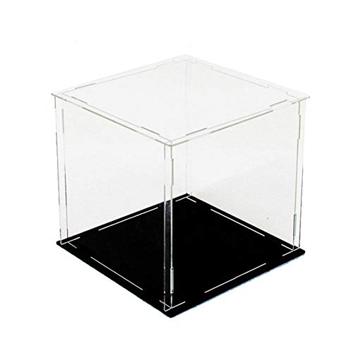 KOBSAINF Clear Acrylic Display Case Model Display Cover Hand-Made Dust Box with Black Base for Toys Models Exhibits