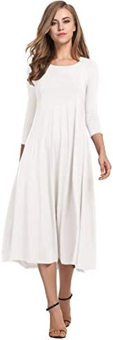 Hotouch Women s Long Sleeve Vintage Swing Casual Party Midi Dress White M product image