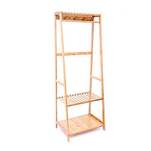47-B Perchero extraíble de madera maciza para el suelo de la habitación, estante multifunción (tamaño: 80 x 43 x 165 cm)