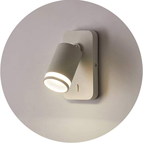 Topmo-plus cabecera lampara de pared GU10 Lampe cama Luminaire de dormitorio Lámpara de pared interior applique de pared Interruptor /GU10 bombilla incluido/ 360 grados horizontal giratoria Blanco