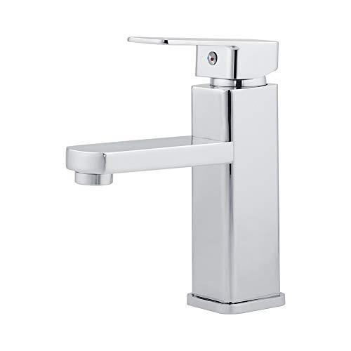 UKing Grifo de baño, cascada, grifo de baño, grifo de lavabo, grifo de lavabo, agua fría y caliente, latón cromado