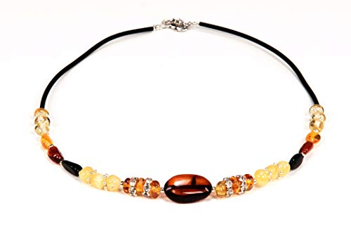 AMBERAGE Natural Baltic Amber Necklace for Women/Teens Hand Made from Polished/Certified Baltic Amber Beads