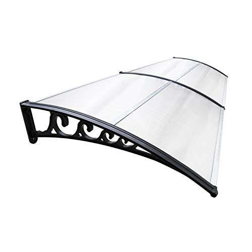 Hengda Vordach für Haustür 200 x 100 cm Pultbogenvordach Transparent Türvordach Polycarbonat Pultvordach Überdachung 5 mm, PP Halterung,Türdach für draußen Sonnenschutz Regenschutz