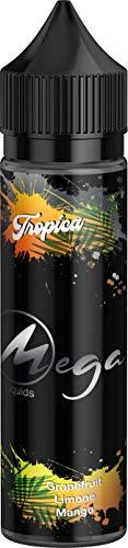 E-Zigarette E Liquid ohne Nikotin I E-Liquids 1 x 50ml I MEGA LIQUID I Vape Liquid 70 VG/30 PG für elektronische Zigaretten oder Shishas, Nikotinfrei I Made in Germany I Sucralosefrei (Tropica)