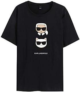 Karl Lagerfeld Karl. Lagerfeld fashion trend printing short-sleeved T-shirt men and women summer bottoming shirt (A,M)