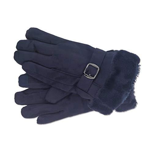 Novadis Guantes invierno para mujer, guantes piel dedo pantalla táctil, Guantes de piel sintética (Azul Marino)