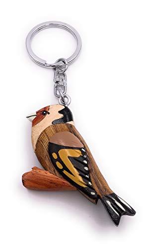 H-Customs Stieglitz Vogel niedlich Süß Holz Edel Handmade Schlüsselanhänger Anhänger