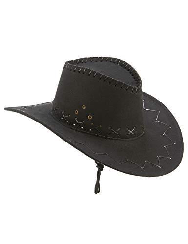 DEGUISE TOI - Chapeau Cowboy Noir en Suedine Adulte - Taille Unique