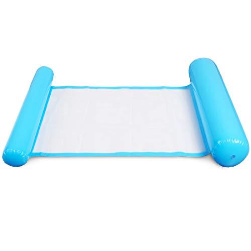 Miotlsy Aufblasbare Hängematte Wasser Hängematte 4-in-1 Ultrabequeme Luftmatratze Schwimmende Wasser Bett Matte Swim Aufblasbare Kopf für Erwachsene und Kinder (Blue)