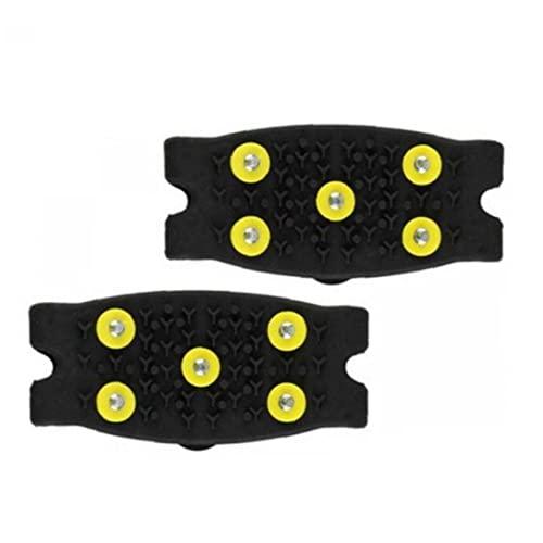 VusiElag Clases De Hielo Anti Resbalones 5 Espárragos De Nieve Empuñaduras Escalada Crampon Espigas para Zapatos Botas De 2 Pares