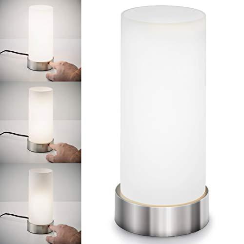 Lámpara de mesa táctil máx. 40 W E14, Altura 245 mm Ø11cm, 4 niveles de luminosidad, Lamparilla de noche moderna, Color blanco, IP20