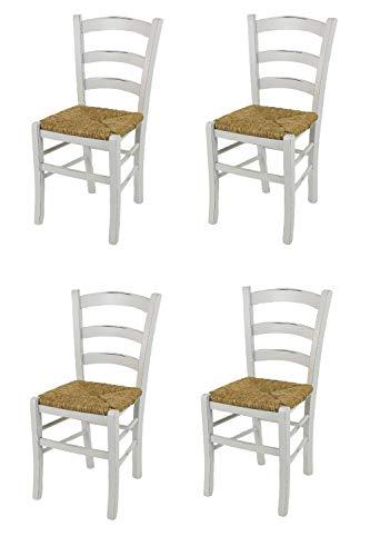 Tommychairs - 4er Set Stühle Venezia für Küche und Esszimmer, Robuste Struktur aus lackiertem Buchenholz im Shabby Chic Stil, handwerklich antik behandelt und Sitzfläche aus Stroh