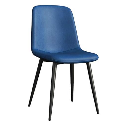 Dining Chair Wohnzimmer Schlafzimmer Zähler Büroecke Freizeit Rezeption Stuhl mit Faux Matte Leder Gepolsterte Sitz und Metallbeine, Armless YMIK (Color : Blue)