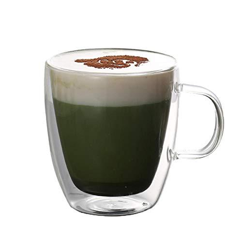 Vidrio de doble capa aislamiento doméstico estilo INS taza de té femenina portátil creativo creativo lindo con taza espesante- [mango] Trompeta-375ml
