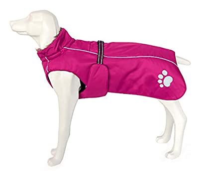 Dog Coats Waterproof, Dog Winter Coat with Padded Fleece Lining, Outdoor Dog Clothing with Adjustable Bands and Drawstring in winter - Pink - L