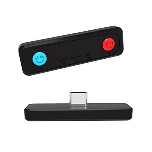 Adaptador Bluetooth para Nintendo Switch/Switch Lite/PS4/PS5/PC, audio inalámbrico Bluetooth 5.0 Transmisor aptX baja latencia micrófono incorporado para auriculares Bluetooth solo auriculares