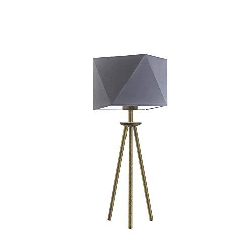 SOVETO - Lámpara de escritorio (pantalla de acero gris, marco dorado envejecido)